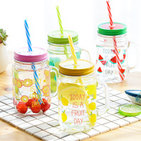 1pcs 500ML Mason Jar With Lid Sucker Beer Water Glass Bottle Coffee Mug With Handle Lemon