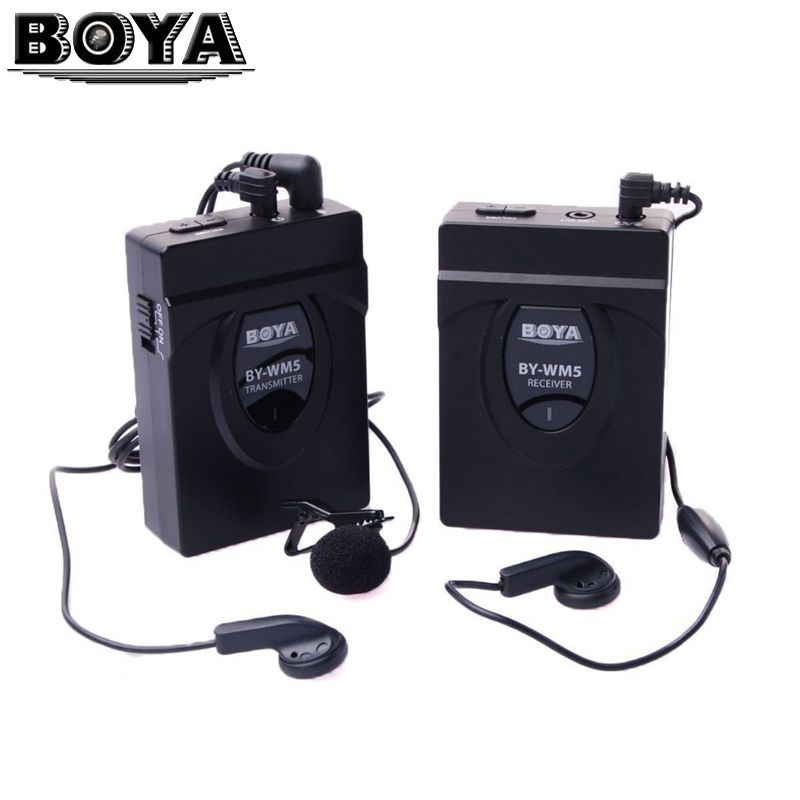 BOYA BY-WM5 DSLR Camera Wireless Lavalier Microphone Recorder System  for Canon Nikon Sony DSLR Camera Camcorder Audio Recorder boya uhf wireless lavalier microphone recorder system for video interview broadcast mic canon nikon dslr camera sony camcorder