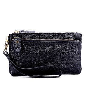 2018 Real Genuine Leather Wallet Women Wristlet Card Id Holders Money Coin Zipper Bag for Men Wallets and Purses Small Clutch(China)