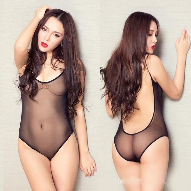 Plus Size Chubby Girls Slimming Sexy Sheer Net Mesh Cloth Open Back Teddies Bodysuit Leotard Erotic Lingerie Xl To 3xl 2 Colors