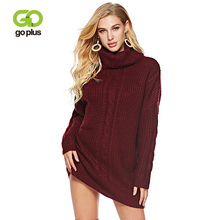 GOPLUS 2019 Spring Winter Knitted Long Sweater Women Turtleneck Sleeve Pullovers Girl Plus Size Befree Loose Female