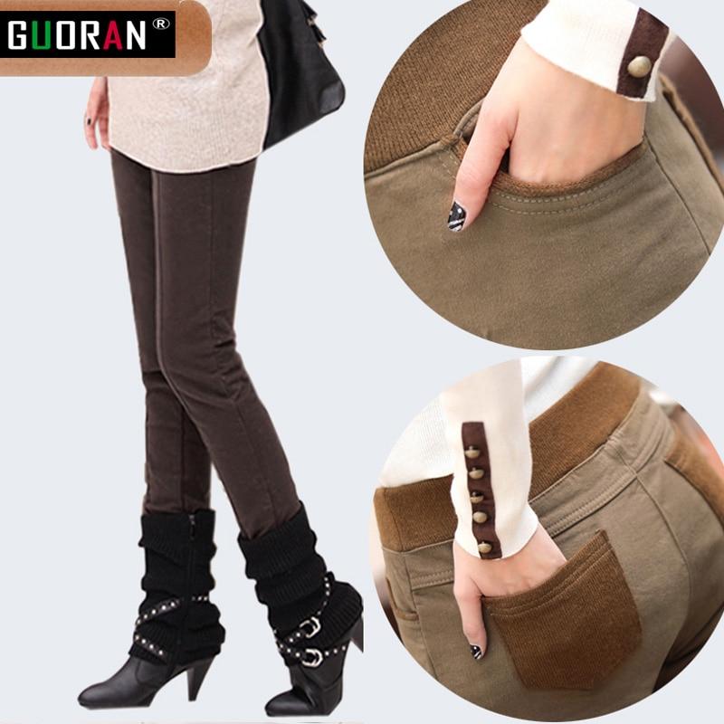 Winter Causal Pants & Capris kvinnor elastisk hög midja bomull - Damkläder