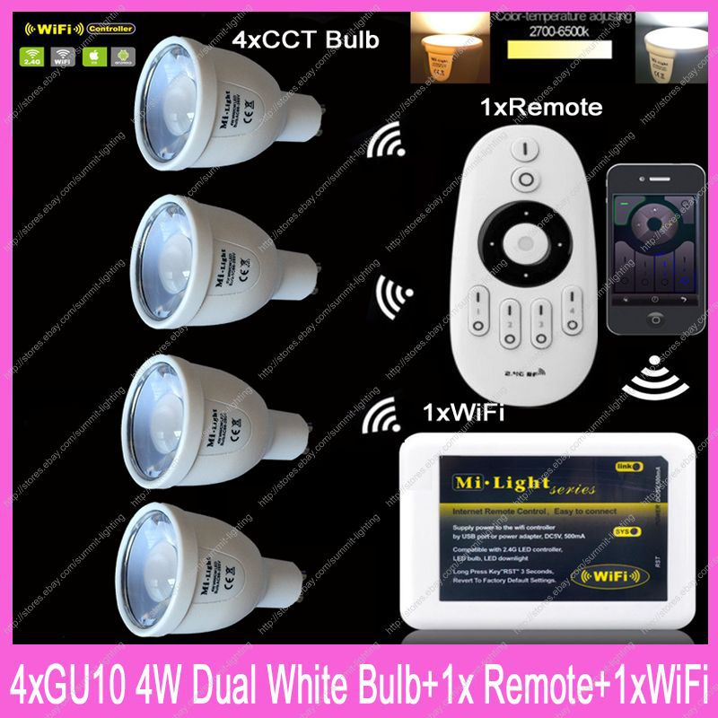 4x GU10 Mi.Light 5W Color Temperature Adjustable Dual White CW/WW CCT LED Bulb AC85-265V+1x 2.4G Wireless Remote+1x WiFi iBox2 ...