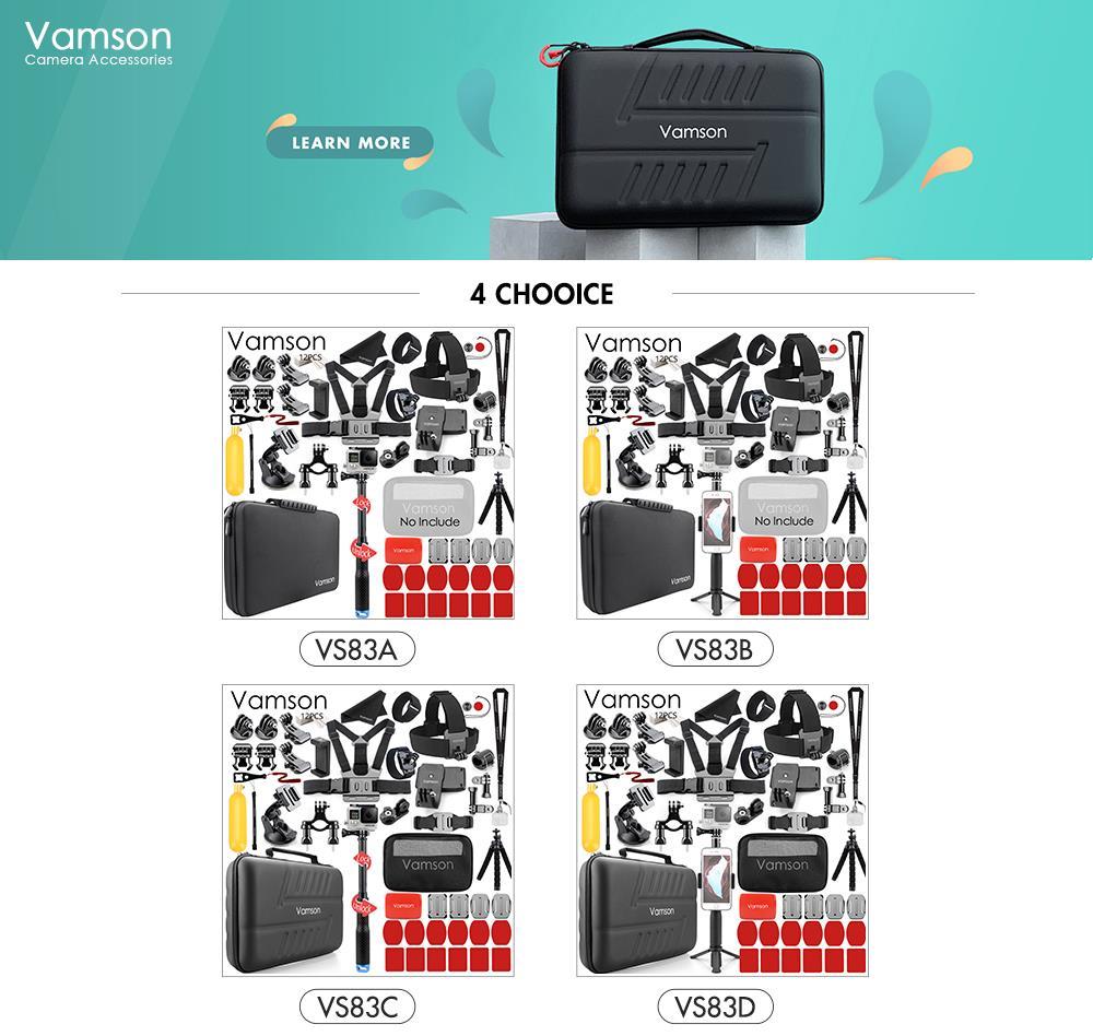 Kits de accesorios Vamson para Gopro para Go Pro Hero 7 6 5 trípode monopié para DJI OSMO CÁMARA DE ACCIÓN PARA xiaomi yi para Mijia VS83 - 2