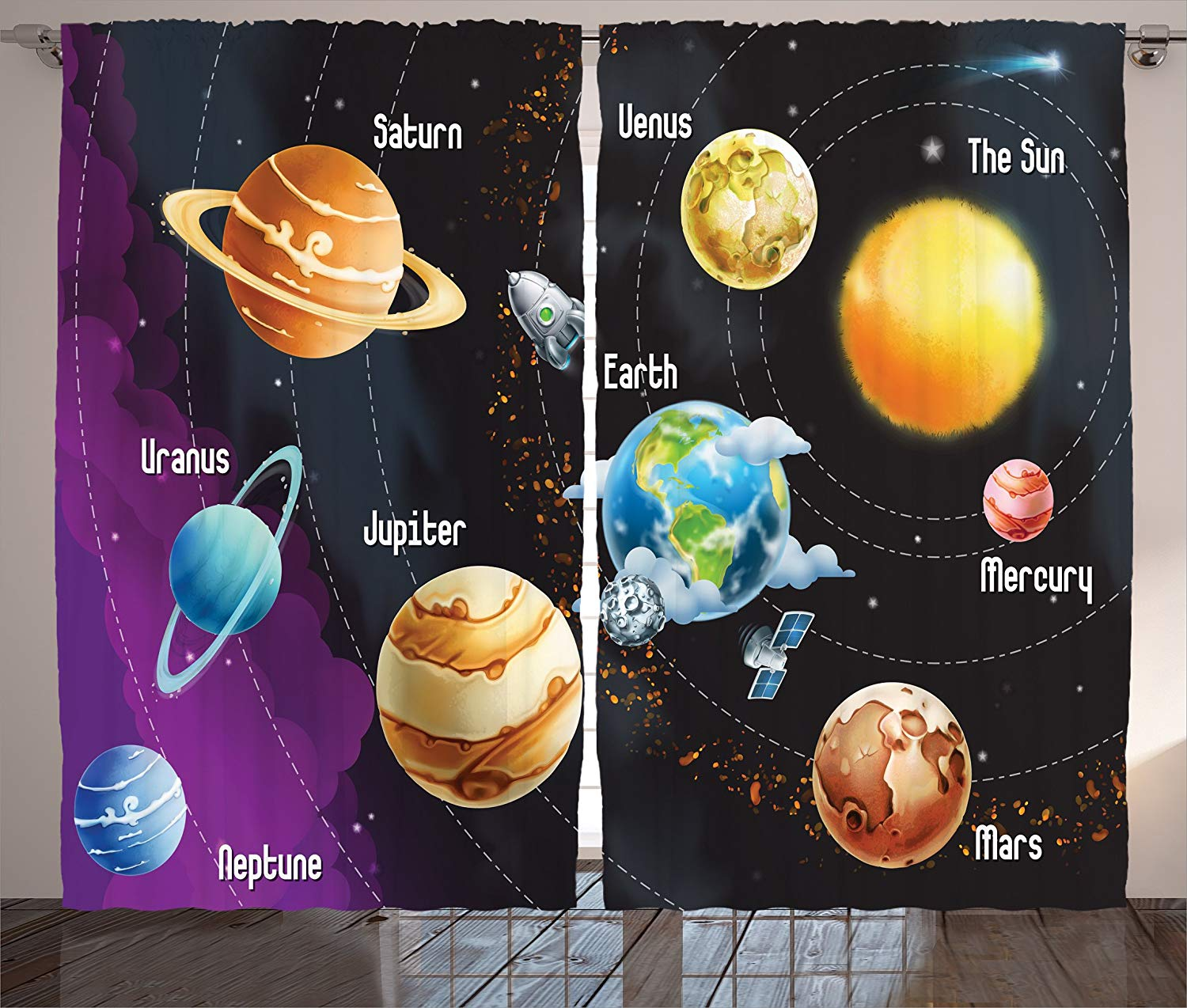 Outer Space Curtains Solar System Of Planets Milk Way Neptune Venus Mercury Sphere Horizontal Living Room Bedroom Decor