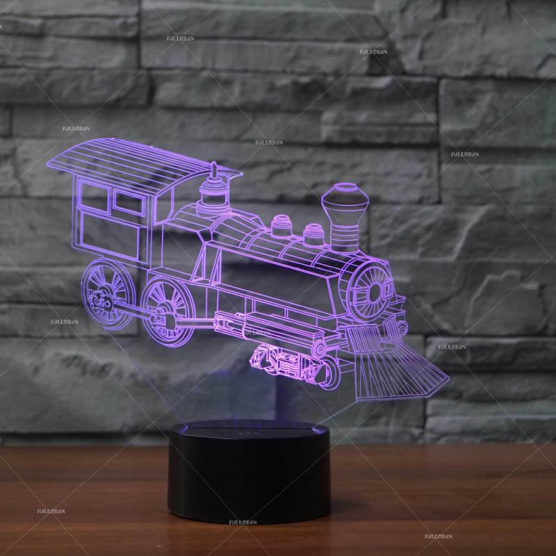 Locomotive Modeling Acrylic Nightlight Personality Customization 3d Stereo Table Lamp Remote Touch Switch Desk Lamp Soft And Light Led Lamps