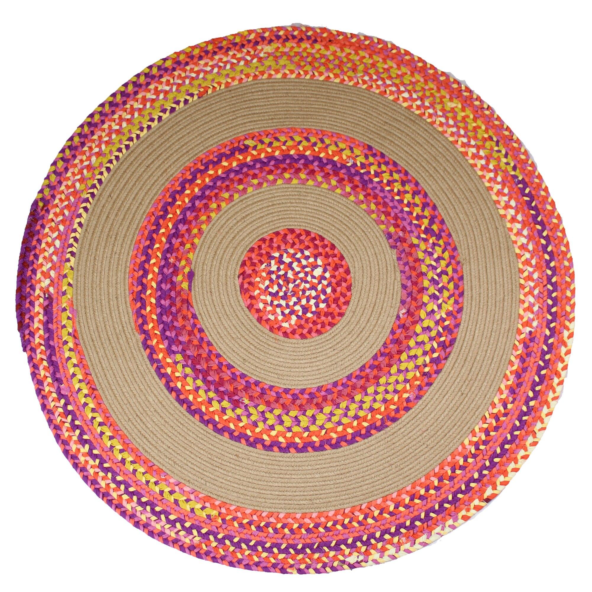Jute & coton Multi Chindi tapis tressé tissé à la main tapis rond réversible fait à la main en coton tressé tapis rond pour salon