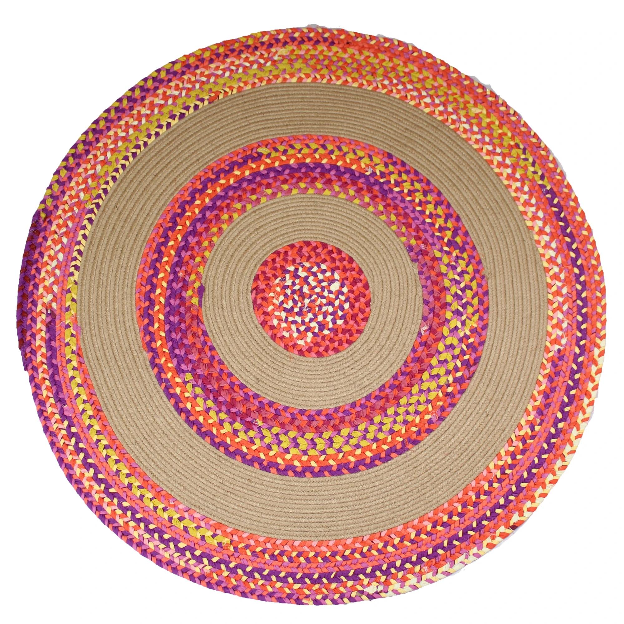 tapis tresse multi chindi en jute et coton rond reversible fait a la main pour salon