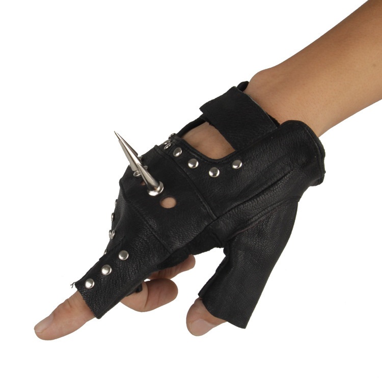 Для мужчин и Для женщин Искусственная кожа с открытыми пальцами в байкерском стиле из ПУ искусственной кожи перчатка в заклепках рок, хип-хоп, готика, варежки для певицы для сцены черное запястья перчатки - Цвет: Only Right Hand