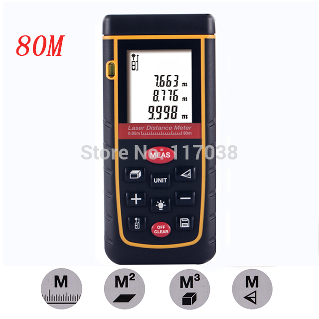 High accuracy Laser distance meter 80m 262ft Rangefinder Bubble Level Tool measure Tape for M/in/Ft Range finder 3 m 16 ft measuring tool steel tape measure tool