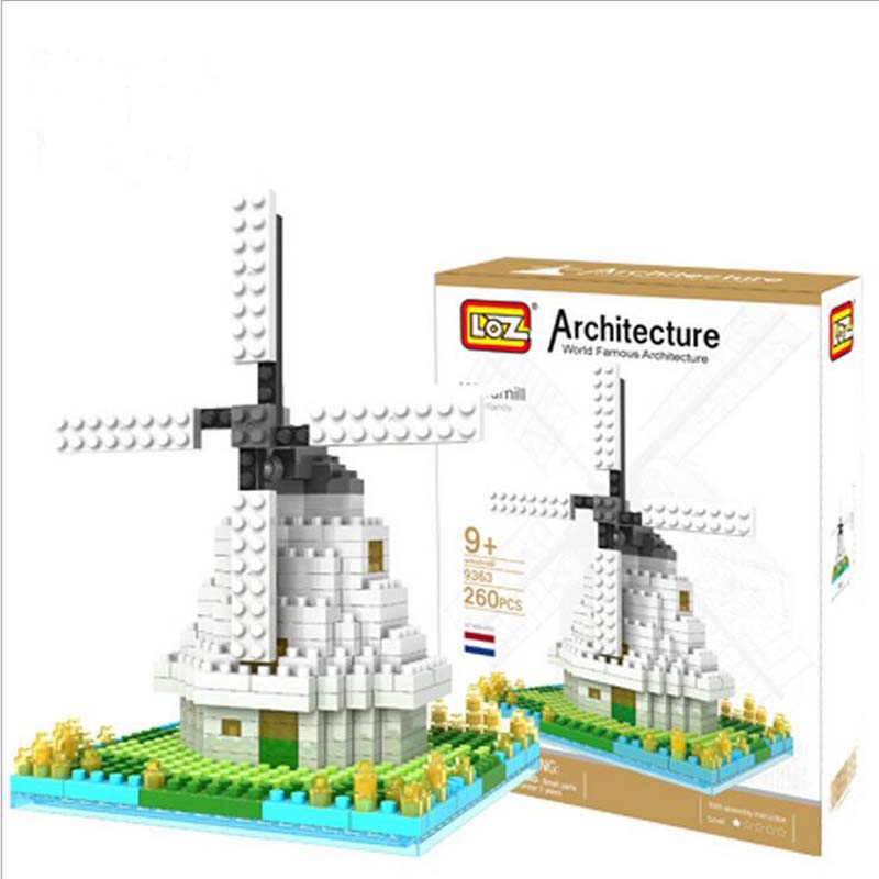 Dutch windmill Small Granule Plastic Building Blocks DIY Adult Educational Toys Free Shipping