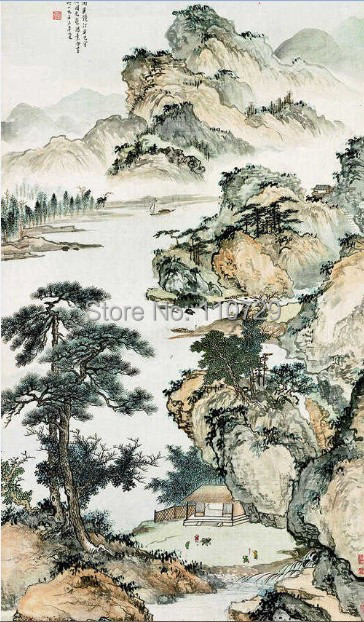 Home Decoration material Hand painted silk wallpaper painting classical landscape many pictures optional iarts aha072962 hand painted thick texture of knife painting trees oil painting red 60 x 40cm
