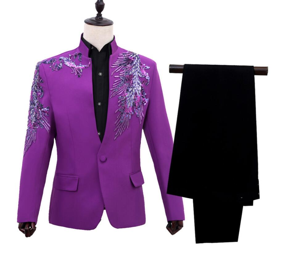 Jacket male costume Purple sequined MC host dress stage program costume singer wedding dress blzaer blue red 3d flower
