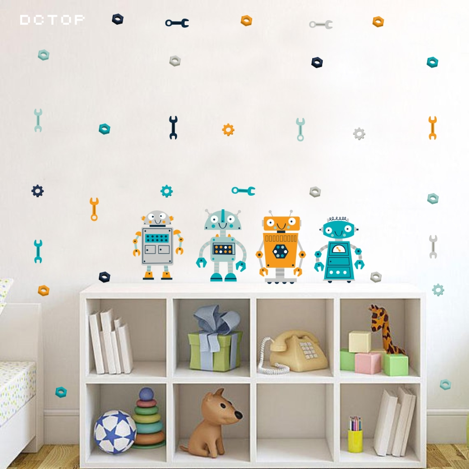 Cartoon Four Robots Wall Sticker Cute Kids Bedroom Decorative Decals Modern Decoration For The House Art Murals Vinyl Wallpaper  (5)