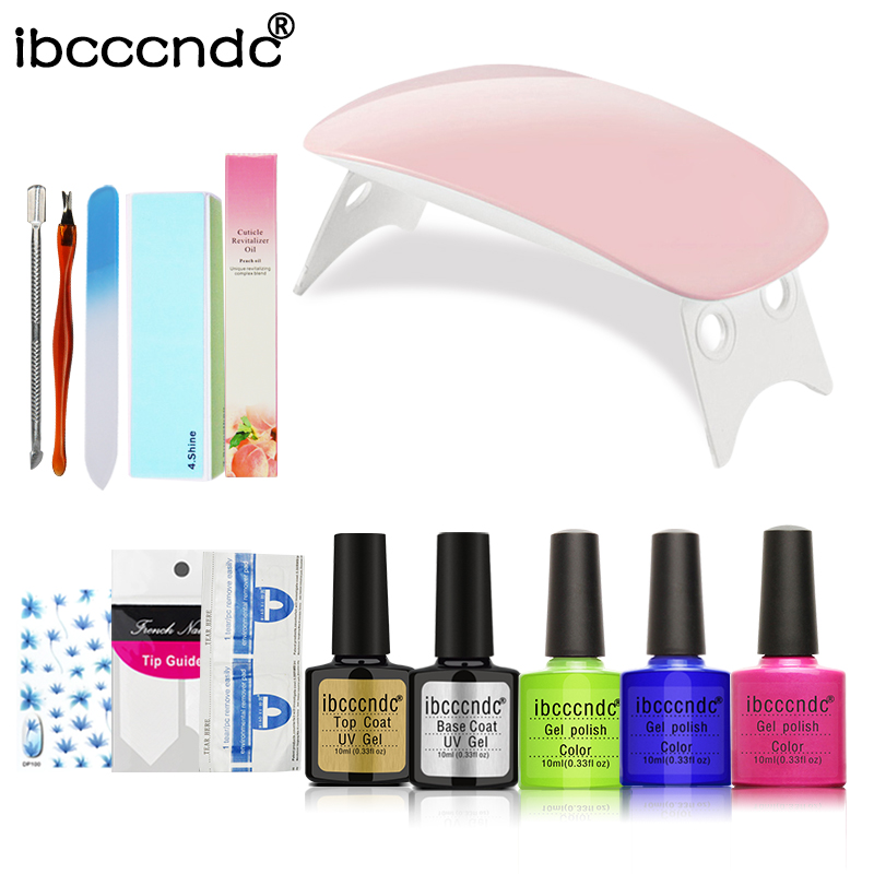 Manicure Set 6W LED Lamp Gel Polish Base and Top Nail Tools Kit Set For Nail Gel 3 Colors Gel Nail Polish Set Acrylic Nail Kit nail art manicure tools set uv lamp 10 bottle soak off gel nail base gel top coat polish nail art manicure sets