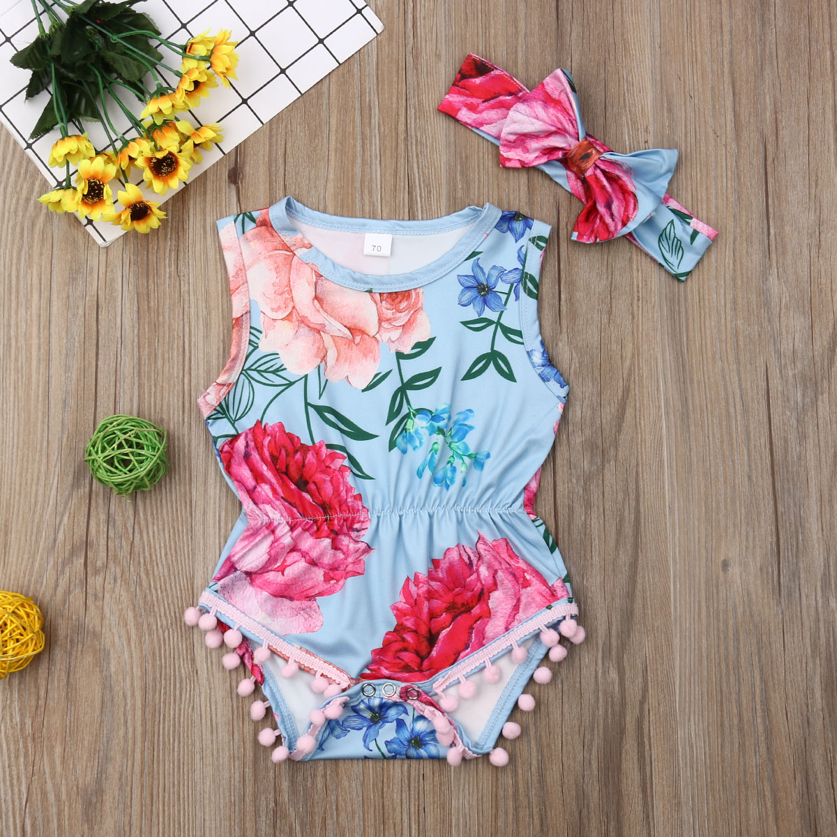 Emmababy Newest Fashion Newborn Baby Girl Clothes Sleeveless Flower Print Tassels Romper Jumpsuit Headband 2Pcs Outfits Clothes