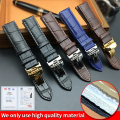 Watch Strap for Tissot  PRC200 T17 T41 T461 T049 19mm Silver Butterfly Buckle Genuine Leather Watch Bands Strap 18mm 20mm 22mm