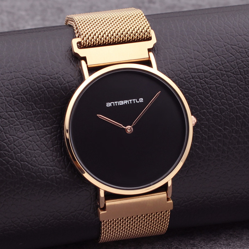 Japan Quartz Luxury Black Simple Minimalist Watch Women Rose Gold Thin Mesh Stainless Steel Magnet Band