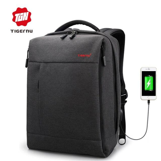 "Tigernu бренд USB зарядки мужской рюкзак Anti-Theft Mochila 14-15 ""ноутбук бизнес-рюкзак Для мужчин рюкзак для женщин школьная сумка"