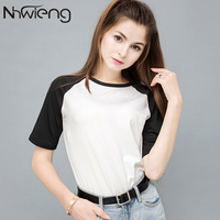 women casual solid t shirt summer white and black sleeve tees ladies patchwork raglan sleeve female femme girls brand clothing