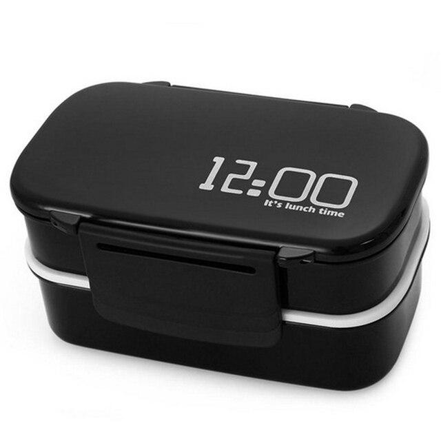 Microwavable обед коробок Пластик путешествия Портативный Еда контейнер для хранения школы Bento Box Японии Стиль едой преп двухслойные