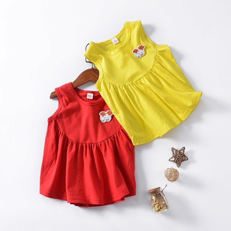 Manufacturer sells directly 2018 summer new girl's drape dress cotton princess rabbit vest dress son