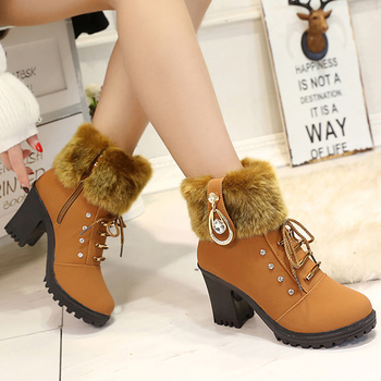 Women's boots crystal square heel designer plush snow boots women winter zip increase warm ankle boots 2018 new arrival