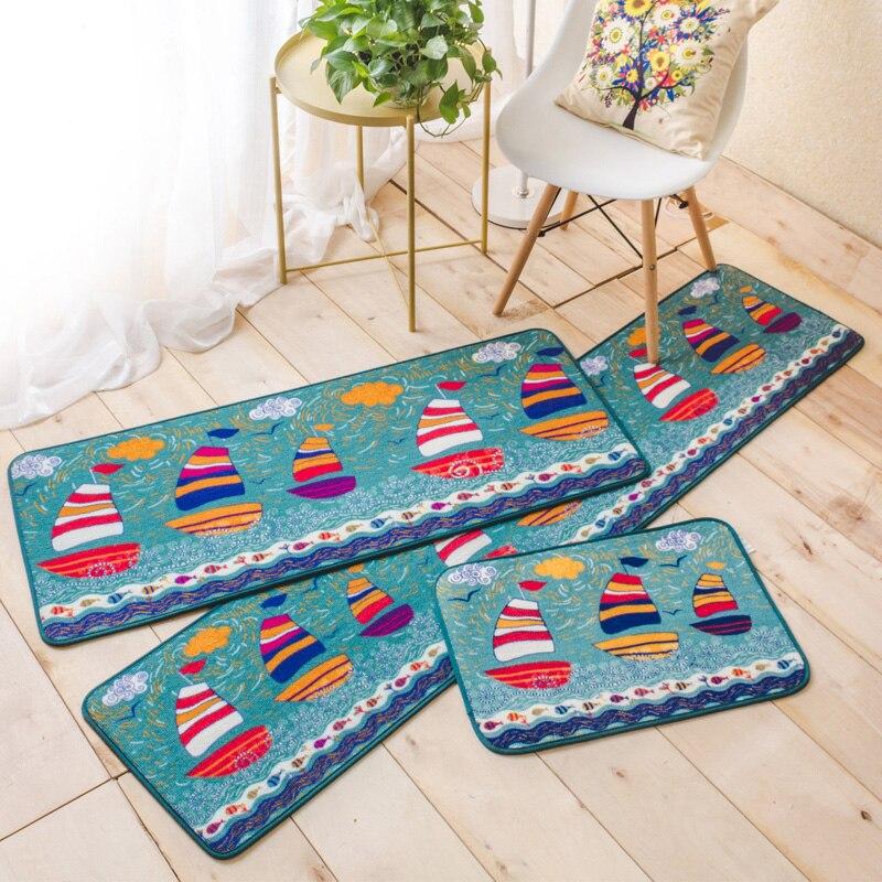 Style japonais mignon dessin animé bateau motif rectangulaire tapis lavable antidérapant tapis filles chambre chevet tapis cuisine salon