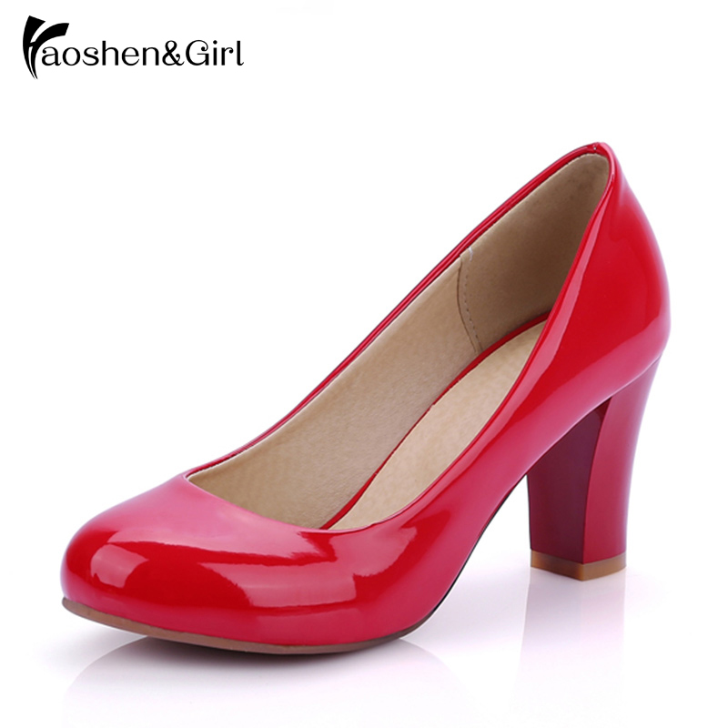 ขนาด 31-47 ผู้หญิงปั๊มส้นสูงสีแดงส้นหนาปั๊มรอบนิ้วเท้าปั๊มเซ็กซี่รองเท้าแต่งงานส้นฤดูใบไม้ผลิหนังรองเท้าผู้หญิง
