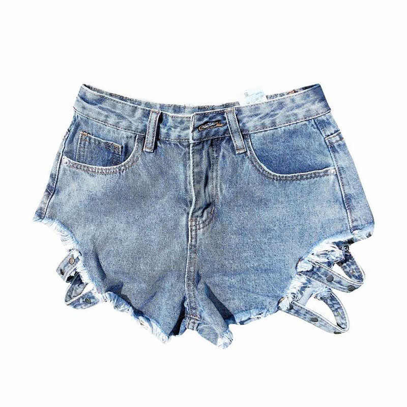 Black Blue Denim Shorts Fashion New Broken Hole High Waist Female Denim Shorts Thin Sexy Loose Ladies Short Pants Hot Pants