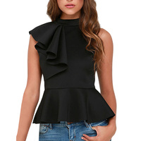 Women Summer Clothing Candy Colors O Neck Sleeveless Ruffles Side Flare Hem Solid Casual Pullover T