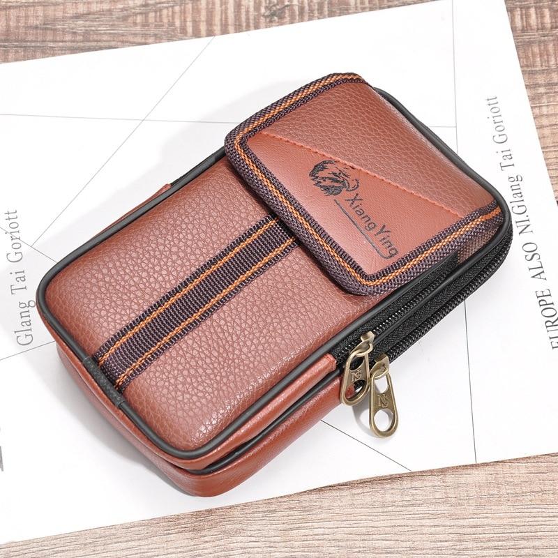 Bycobecy Multi-function Phone Wear Belt Pocket Solid Zipper Porta Tarjetas Heuptas Heren Gift Fashion PU Leather Men Waist Bag