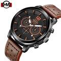 Люксовый бренд Hannah Martin модные часы мужские кожаные повседневные часы водонепроницаемые военные Relogio Masculino спортивные мужские наручные часы