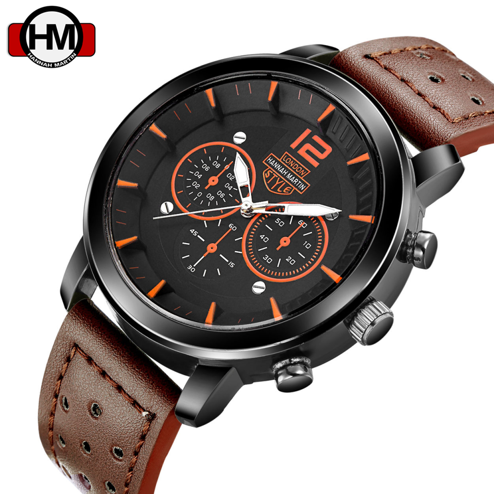 Luxury Brand Hannah Martin Fashion Watches Men Leather Casual watch Waterproof Military Relogio Masculino Sport Men Wristwatch