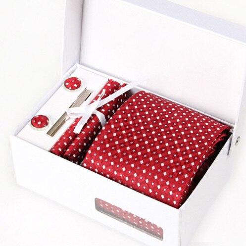 2016 мужчины dot печати интервью галстуки мужской свадебная галстук формальный бизнес kravat гент красный свадебный запонки hanky шеи галстук набор