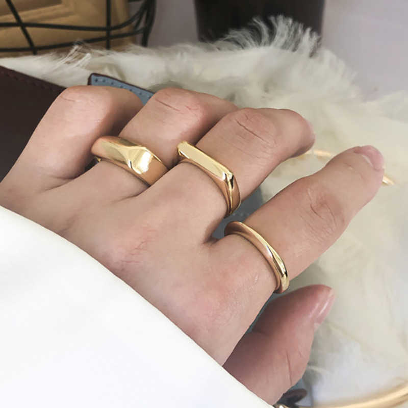 SRCOI Circle Wide Square Knuckle Vintage Ring Gold Color Minimalist Geometric Personality Exaggerated Finger Ring Trendy  New