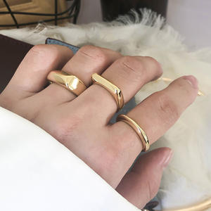 SRCOI Vintage Ring Knuckle Circle Square Geometric Exaggerated Minimalist Gold-Color