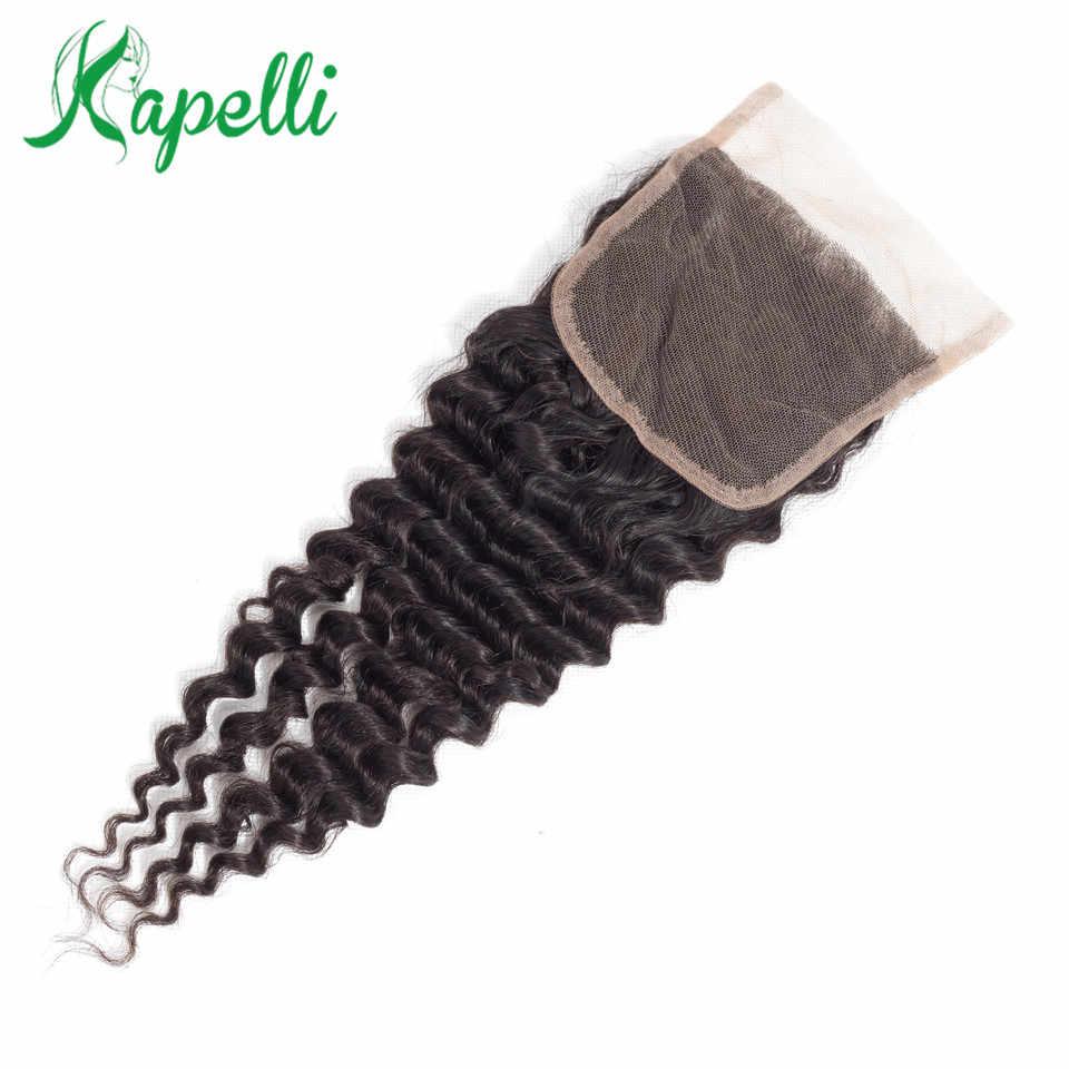 Mechones de cabello humano postizo liso brasileño 4*4 de 10-18 pulgadas, cierre de encaje Natural sin Remy, extensiones de cabello con cierre degradado, 1 ud./lote