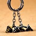 1PC Retail dumbbell keychain key ring retro key chain key holder innovative portachiavi chaveiro souvenir Gift Custom Logo