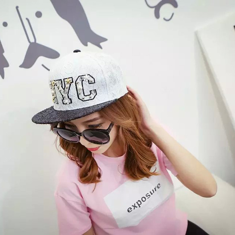 1 Pcs 2017 New Letter <font><b>NYC</b></font> Lace Sequins Hip-hop Cap Autumn And Winter Hats For Men And Women Baseball Cap 4 Colors 8451 image