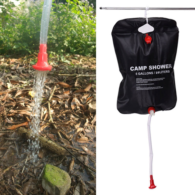 20L Solar Energy Heated Camp Shower Bag Outdoor Camping Hiking Utility Water Storage PVC Bags MSD-ING