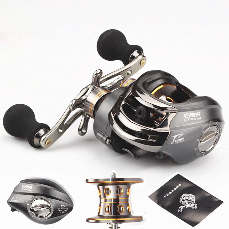 12+1BB 6.3:1 High Quality Right Hand Baitcasting Fishing Reel Bait Casting Reels Fishing Reels Saltwater Grey new 12bb left right handle drum saltwater fishing reel baitcasting saltwater sea fishing reels bait casting cast drum wheel