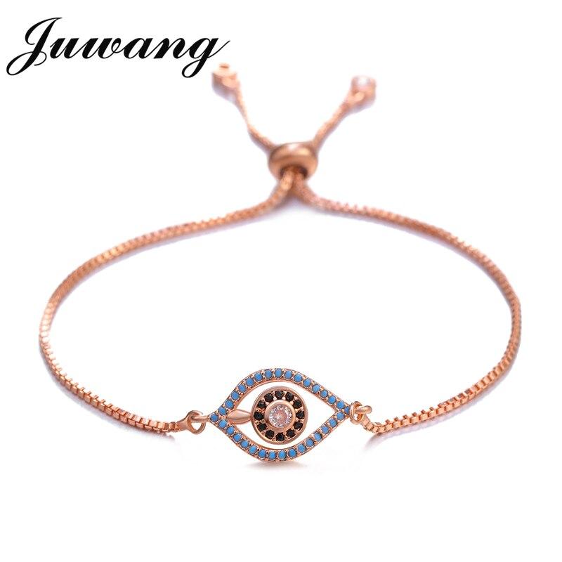 Bracelets pour femme à la main tressé Rendy pavé CZ bleu oeil chaîne Bracelet réglable femme 2