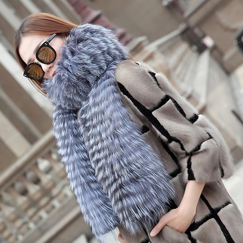 YCFUR Brand Design Fashion Women Scarves Winter Stripes Silver Fox Fur Scarf Female Winter Wraps Scarves Collars Ladies 10
