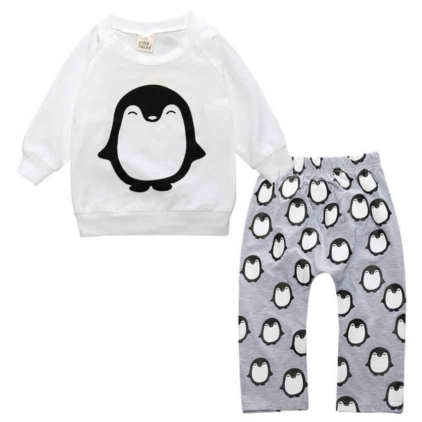 2017 autumn baby boy clothes set infant clothing cotton long-sleeved letter T shirt + plaid pants clothing set newborn baby girl