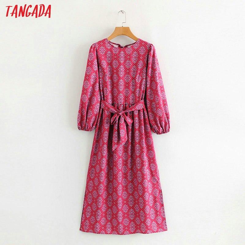 Платье Tangada женское, винтажное платье средней длины с длинным рукавом и принтом пейсли, 1F61, 2019