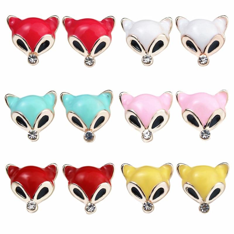 PULATU 6 Color Little Fox Small Stud Earring for Women Rhinestone Enamel Animal Earrings Men Kid Fashion Jewelry Gift ED0561