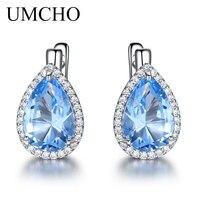 UMCHO Nano небесно-синий драгоценный камень, клипсы, серьги из стерлингового серебра 925 пробы для женщин, модные ювелирные изделия, подарок на Но...
