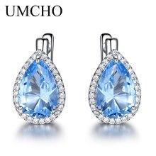 UMCHO Nano Sky Blue Gemstone Clip Earrings 925 Sterling Silver Earrings For Women Fashion Fine Jewelry Gift New Year Festival цена