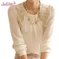 JasWell Summer Fashion Shirts New O Neck Slim White Long Sleeve Blouse Women Lace Casual Embroidered